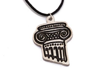 Greek Column Necklace/ Classic Architecture Pendant/Greek Temple Jewelry/Pillar Necķlace/Greek Fashion/Greek Design/Greek Jewelry/Greek Key