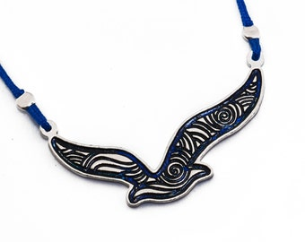 Aegean Seagull Necklace / Bird Jewelry / Animal Jewelry /Bird Necklace / Summer Jewelry/ Souvenir / Greek design /Greek Chic/Enamel Necklace