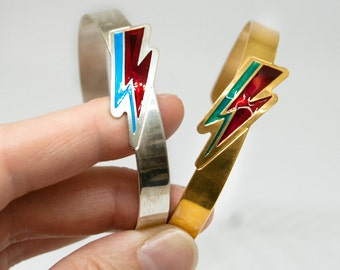 David Bowie Bracelet /Lightning Bolt Bracelet/Ziggy Stardust Bangle/Thunder Bracelet/Music jewellery/Engraved Enamel Bracelet