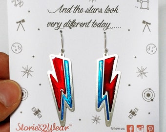David Bowie Thunderbolt Earrings/Lightning Bolt Earrings/Ziggy Stardust Earrings/Thunder Earrings/Music jewellery/Engraved Enamel Earrings