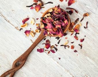 Rose Petal Raspberry Herbal Tea • 3 oz. of Loose Leaf Tea • Caffeine Free Fruit Blend