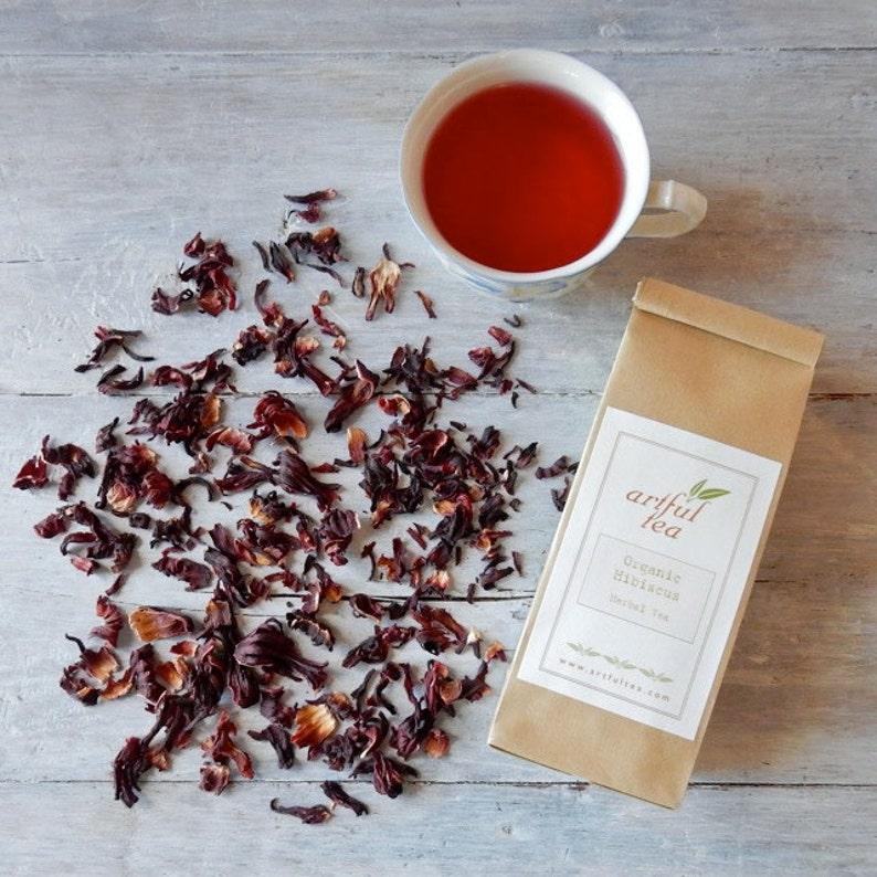 Hibiscus Flowers Organic Herbal Tea 4 Oz Kraft Bag Luxury Etsy