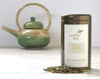 Raspberry Orange Rhapsody Green Tea • 4 oz. Tin • Loose Leaf Tea Blended with Fruit