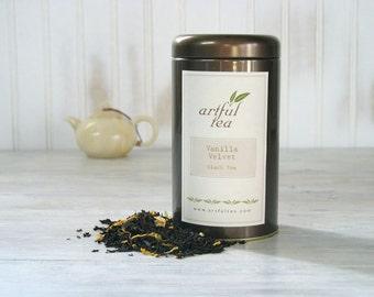 Vanilla Velvet Black Tea • 3.5 oz. Tin • Hand Blended Loose Leaf Tea • Vanilla with Jasmine & Sunflower Petals