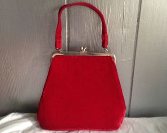 Free Shipping! Vintage Red Velvet Purse, Mid Century Modern Purse, 1950's Christmas, , Red Velvet Handbag, Holiday Purse, Valentines