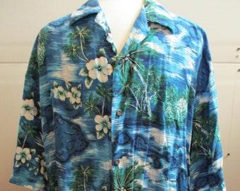Vintage Men's Hawaiian Shirt, Ohana Fashion Hawaii, Father's Day Gift, Made in Korea, Size 2X, XXL, 100% Rayon, Map of Hawaii, Gift for Him