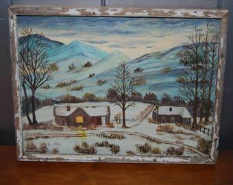 Vintage Rustic Winter Painting Decor Snow Scene Country Cabin Shabby Chic Folk Art