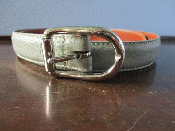 Coach Belt, Sea Green Leather Belt, Vintage Coach