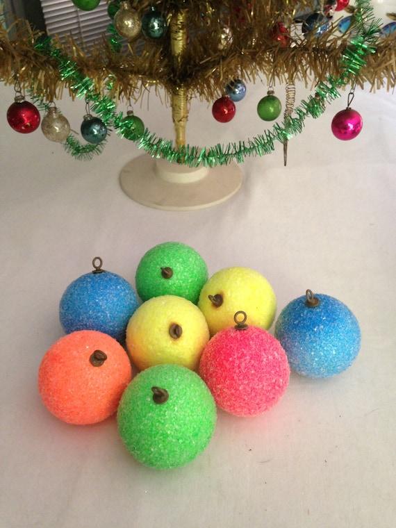 image 0 - Christmas Ornaments Sugared Styrofoam Balls Vintage Pyramid Etsy