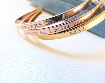 Rose Gold Cuff Bracelet, customized Quote bracelet, Personalized cuff, Engraved message Bracelet, Bridesmaid Gift, inspirational cuff.