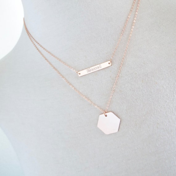 Custom Personalised Engraved Jewellery Bar Necklace Rose Gold Silver