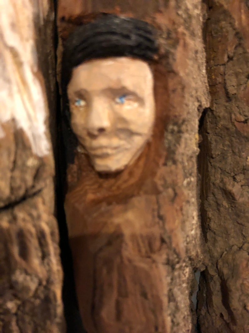 cottonwood bark faces study hand carved