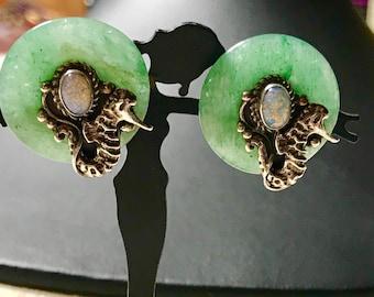 Vintage Sterling Silver Jade and Opal Sea Horse Earrings