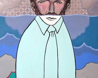 Beneath The Surface, iceburg, pop surrealism, lowbrow, art, painting, lowbrow art, stencils