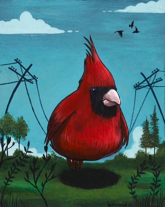Vogel auf Draht Holz-PANEL-Druck Pop-Surrealismus lustig | Etsy