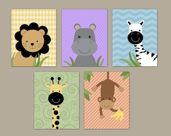 3433ea7e00c Peek-a-boo Jungle Fun Nursery Art - Baby Prints - Lion Monkey Giraffe Zebra  -Set of 5 Peekaboo