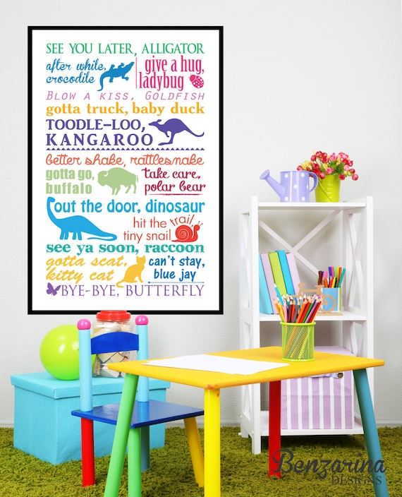 Outstanding Teacher Gift Daycare Child Care Provider See You Later Alligator Typography Print Bye Goodbye Poster Kids Decor Daycare Inzonedesignstudio Interior Chair Design Inzonedesignstudiocom