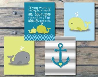 Whales n Waves n Anchors Nautical Nursery Art - INSTANT DOWNLOAD - boys decor, teal green blue nautical bathroom