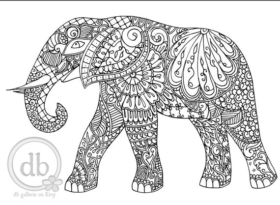 Adultos para colorear poster Henna elefante grabado