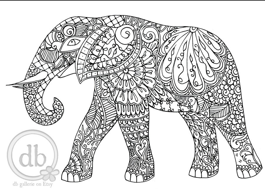 Färbung Poster Henna Elefanten Kunstdruck Färbung für   Etsy