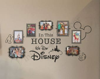 In this house we do Disney photo frames  (5) 4 x 6 and (2) 5 x 7 vinyl photo collage Disney wall decal BC824