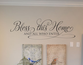 Bless this home fancy family vinyl wall decal vinyl lettering, wall words, stickers, home decor, vinyl decor RC009