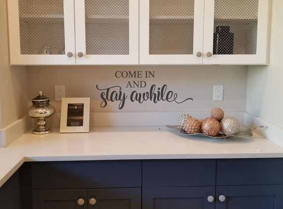Word Stencils Stickers BC861 Stay Awhile Wall Decal Vinyl Lettering