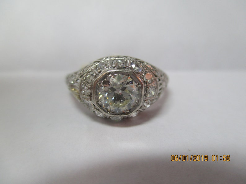 7eacd143bb713 Antique Vintage Estate filigree diamond engagement ring. Old Mine cut  diamond ring with exquisite detailed filigree work 1.24Ct.Tw.