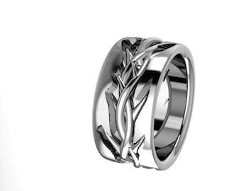 Crown of Thorns Wedding band- Men's Wide wedding band-10 , 12, 5 and 4 mm  Custom Crown of Thorns ring in solid Sterling or 14 karat gold
