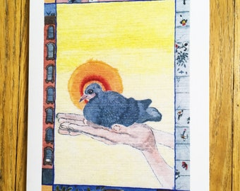 pigeon blank greeting card