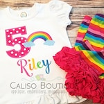 Girls Rainbow Outfit - BRIGHT Rainbow Birthday Shirt - Rainbow Ruffle Shorts - Birthday Party Shirt for Girls