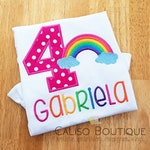 Girls Rainbow Shirt - BRIGHT Rainbow Birthday Shirt - Birthday Party Shirt for Girls - Personalized Birthday Number Shirt - Birthday Shirt