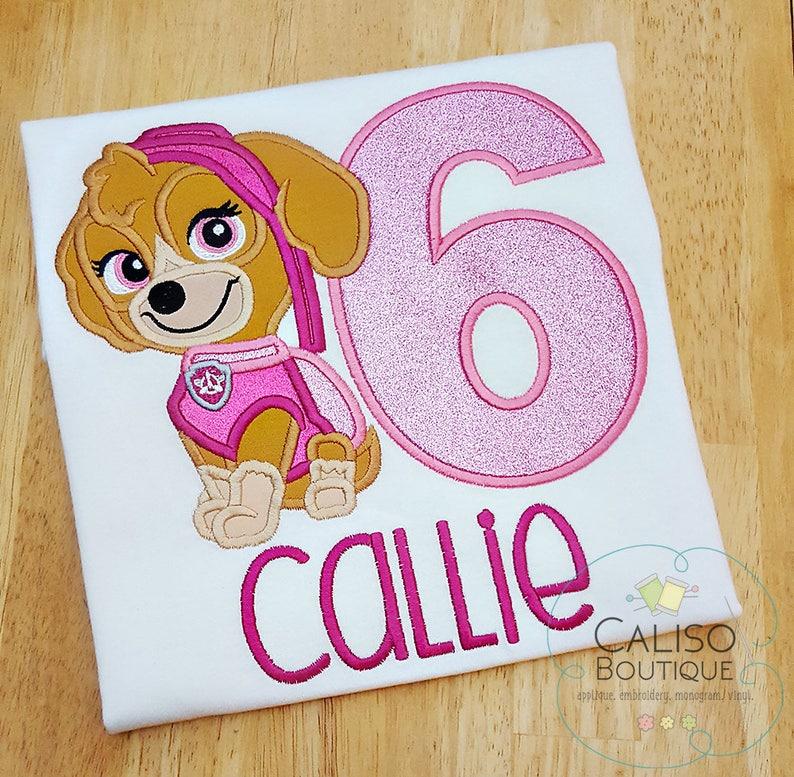 Girls Birthday Shirt  Glitter Number  Kids T-shirt  Trendy image 0