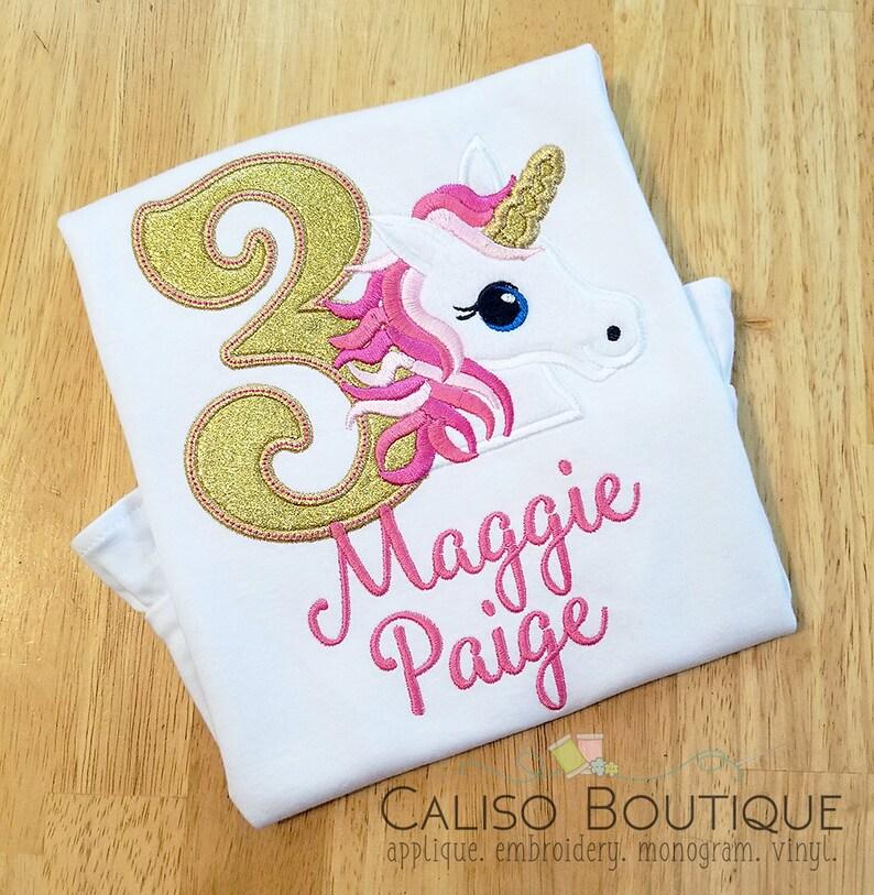 Pink Unicorn Birthday Shirt  Girls Unicorn Birthday Shirt  image 0