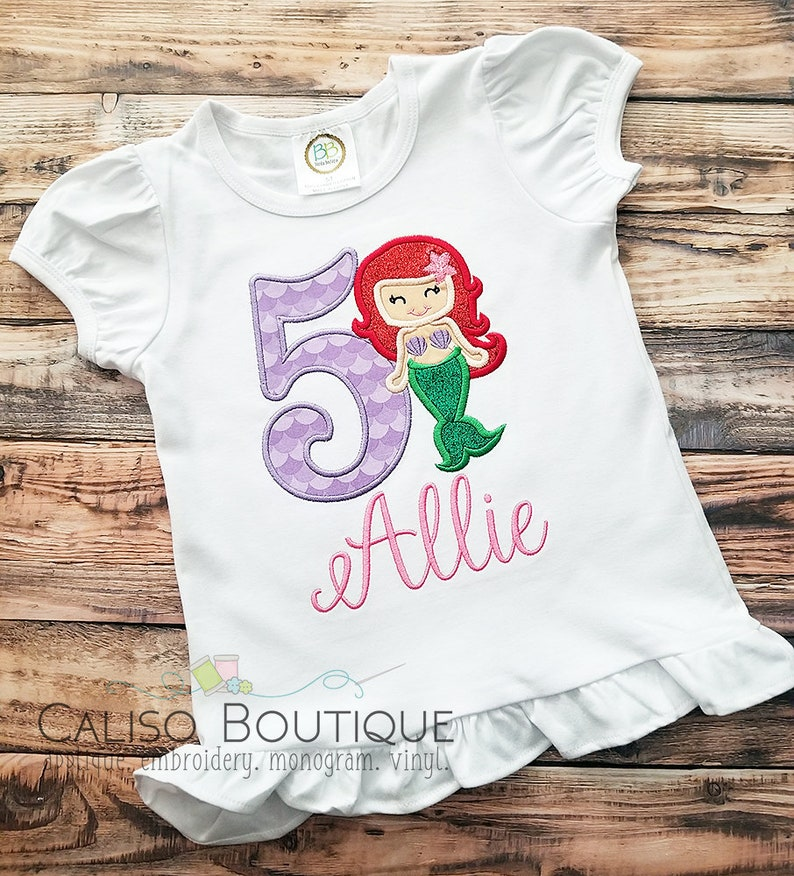 Mermaid Birthday Shirt  Personalized Mermaid Shirt  Applique image 0