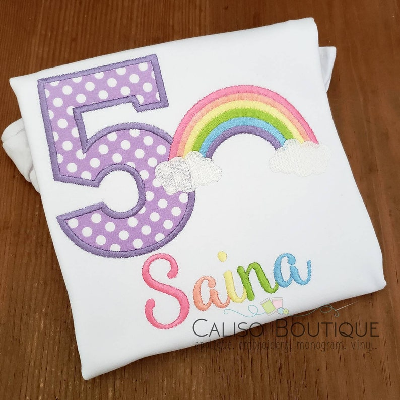 Girls Rainbow Shirt Pastel  Rainbow Birthday Shirt  Birthday image 0