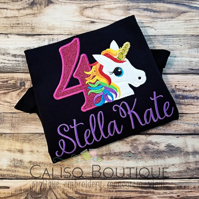 Unicorn Rainbow Birthday Shirt  Girls Unicorn Birthday Shirt image 0