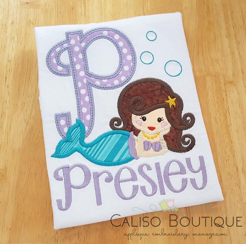 Mermaid Initial Applique Shirt  Girls Personalized Shirt  image 0