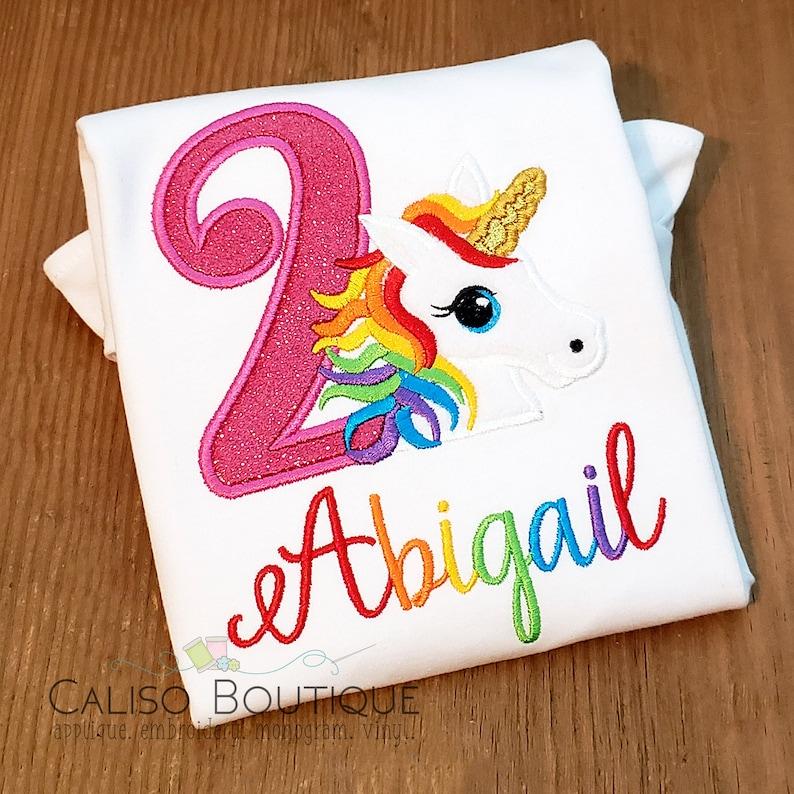 Unicorn Rainbow Birthday Shirt  Girls Unicorn Birthday Shirt image 0