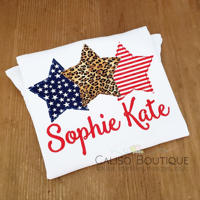 4th of July Applique Stars  Girls Patriotic Applique Shirt  image 0