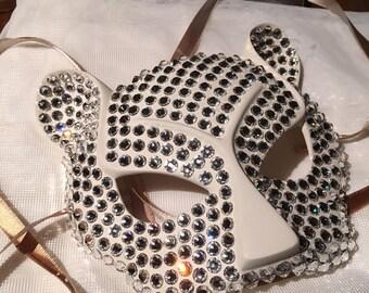 3dd08bf8d4 Sparkly White Swarovski Cheetah Mask