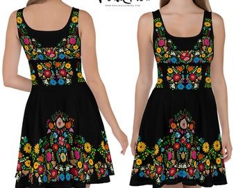 88edf77b89 Maya Fit and Flair Mexican Embroidery Print Dress by Paulina