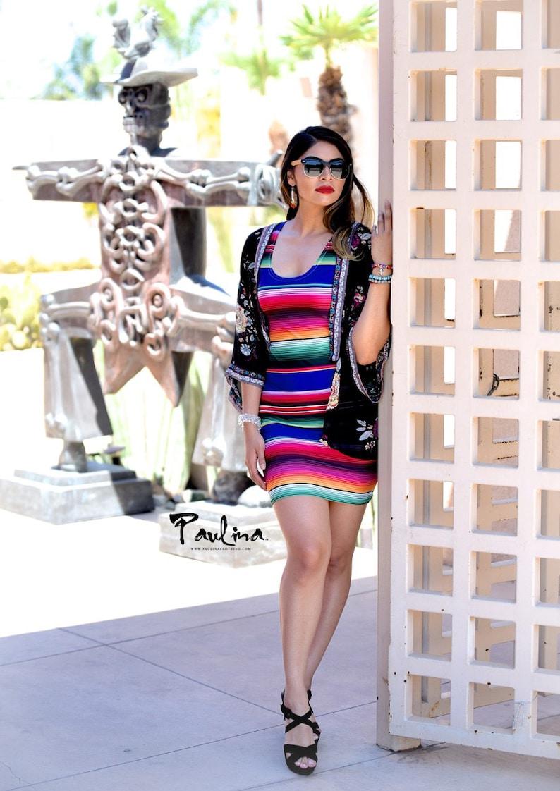 580478897b Bodycon Mexican Sarape Print Dress by Paulina | Etsy