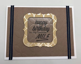 Raunchy card etsy happy birthday to my favorite milf sexy handmade card m4hsunfo