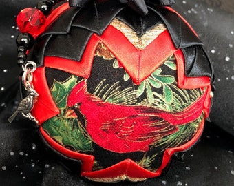 "4"" Handcrafted Quilted Custom-Made Cardinal Ornament"
