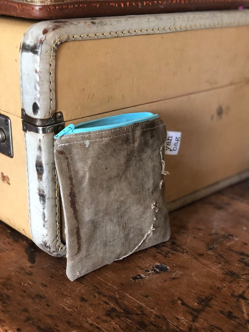 BLUE  reconstructed vintage canada post mail bag extra-small image 0