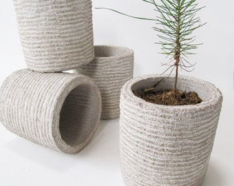 Hand-Carved Small Limestone Planter