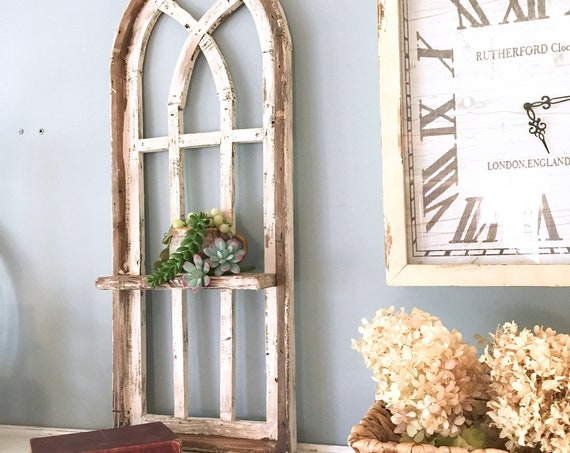 Arch Window Frame SHELF, Farmhouse Cottage Decor, 36in Cathedral Window, Distressed Chippy Paint, Wall Decor, Farmhouse Wall, Window Frame