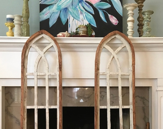 Arch Window Frame, Farmhouse Cottage Decor, Cathedral Window, Distressed Chippy Paint, Wall Decor, Farmhouse Wall, Window Frame