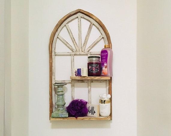 Arch Window Frame SHELF, Bathroom Shelves, Farmhouse Decor, Cathedral Window, Distressed  Paint, Wall Decor, Farmhouse Wall, Window Frame